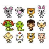 zodiac för 12 djur kinesisk etiketter stock illustrationer