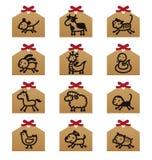 zodiac för djurkines tolv royaltyfri illustrationer