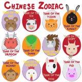 zodiac för kinesisk symbol för 12 djur set stock illustrationer