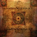 zodiac för parchment för astrologibakgrund grungy Royaltyfri Bild