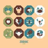 zodiac för 12 set tecken Royaltyfri Illustrationer