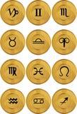 zodiac för symboler för horoskop för myntguld Arkivbild