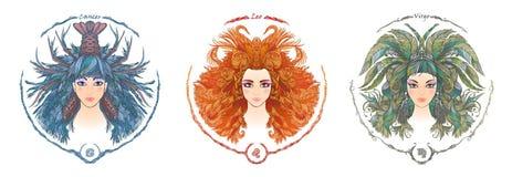 zodiac för symboler tolv för illustrationsdesigntecken olik Stående av en kvinna Cancer Lejonet, Jungfru royaltyfri illustrationer