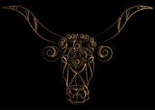 zodiac för vektor för illustrationteckentaurus _ Huvudet för tjur` s målas med guld- trådar, linjer och modellen Vektorillustrati Arkivfoton