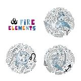 Zodiac Fire Elements Set stock illustration