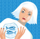 Zodiac FISH. Zodiac-illustration of a girl and pisces Royalty Free Stock Image
