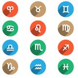 Zodiac flat icons Stock Photos