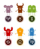 Zodiac funny cartoon 1. Vector hand-drawn characters and Zodiac symbols Royalty Free Stock Photo