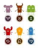 Zodiac funny cartoon 1. Vector hand-drawn characters and Zodiac symbols Stock Illustration