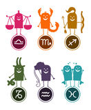 Zodiac funny cartoon 2. Vector hand-drawn characters and Zodiac symbols Stock Images