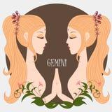 Zodiac girl Gemini. With vector file Stock Photo
