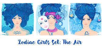 Zodiac girls set: Air. Vector illustration of Aquarius, Gemini, Stock Photo