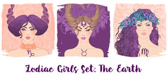 Zodiac girls set: Earth. Vector illustration of Taurus,Capricorn Royalty Free Stock Images