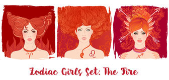 Zodiac girls set: Fire. Vector illustration of Pisces astrologic Stock Photography