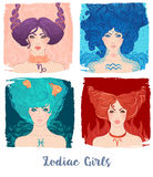 Zodiac girls set: vector illustration of astrological signs as a Stock Photography