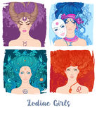 Zodiac girls set: vector illustration of astrological signs as a Stock Photo