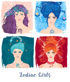 Zodiac girls set: vector illustration of astrological signs as a Royalty Free Stock Images
