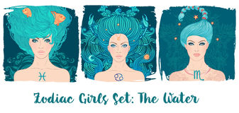 Zodiac girls set: Water. Vector illustration of Pisces, Cancer, Royalty Free Stock Image