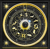 Zodiac Gold. Black zodiac clock with gold deatail and decoration stock photography