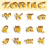 Zodiac gold symbols. Zodiac golden Astrological signs set. All separate layer,easy to use. Included vector eps10 and hi res jpg Stock Photos