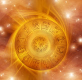 Zodiac. With gold whirl and stars Stock Images