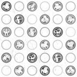 Zodiac grungy retro pattern Stock Image