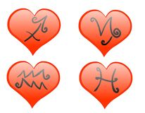 Zodiac hearts icon stock image