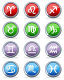Zodiac Horoscope Glossy Buttons stock illustration