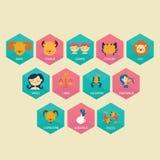 Zodiac horoscope icon set in cartoon flat vector drawing illustration color-full Royalty Free Stock Photography