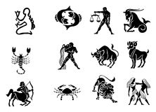 Zodiac Horoscope Icons - black and white. Set of 12 zodiac horoscope icons - black and white Vector Illustration
