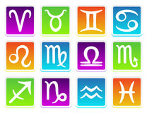 Zodiac horoscope icons in colors Stock Images