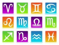 Zodiac horoscope icons in colors. Vectro Zodiac horoscope icons in colors Stock Images