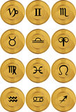 Zodiac Horoscope Icons - Gold Coin Stock Photography