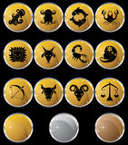 Zodiac Horoscope Icons - Gold Round Stock Photo