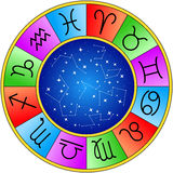 Zodiac Horoscope Signs Wheel Isolated Royalty Free Stock Photography