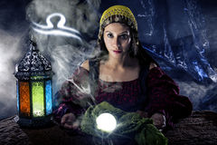 Zodiac Horoscope Symbol with Fortune Teller Stock Photography