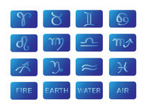 Zodiac horoscope symbols blue signs vector Stock Images
