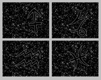 Zodiac horoscope symbols collage Royalty Free Stock Photo