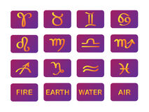 Zodiac horoscope symbols purple gold signs vector Stock Photo