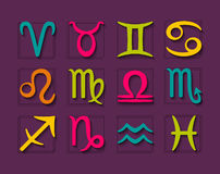 Zodiac horoscope symbols set Stock Image