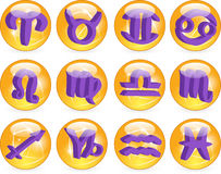 Zodiac Horoscope Symbols Vector. Vector zodiac horoscope yellow and purple symbols Royalty Free Stock Image