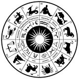 Zodiac Horoscope Wheel. The Twelve horoscope symbols and icons of the Zodiac surrounding a sun symbol on black with white background. Aquarius, Aries, Cancer Royalty Free Stock Images