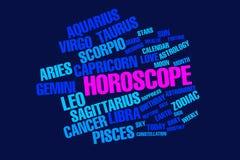 Zodiac horoscope words over a deep blue background Stock Image