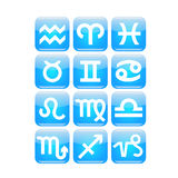 Zodiac Icon. 12 vector aqua Zodiac icons royalty free illustration