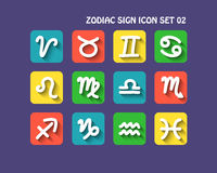 Zodiac icon set 02. Zodiac sign icon  with long shadow for web and mobile  set 02 Stock Photos