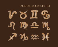Zodiac icon set 03. Zodiac sign icon in watercolor style set 03 Royalty Free Stock Image