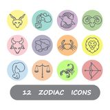 12 Zodiac icon vector. Set with colorful and white background royalty free illustration