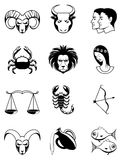 Zodiac icons Black and white Royalty Free Stock Images