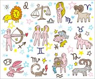 Zodiac icons doodles set Royalty Free Stock Photo