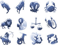 Zodiac icons. Zodiac icon cartoon illustrations Royalty Free Illustration